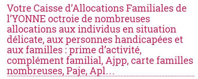 Les coordonnées et les prestations familiales des Caf de l'Yonne sont à retrouver sur allocations-info.fr